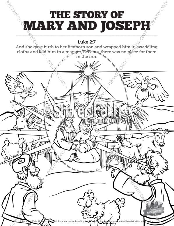 598x776 Luke Mary And Joseph Christmas Story Sunday School Coloring