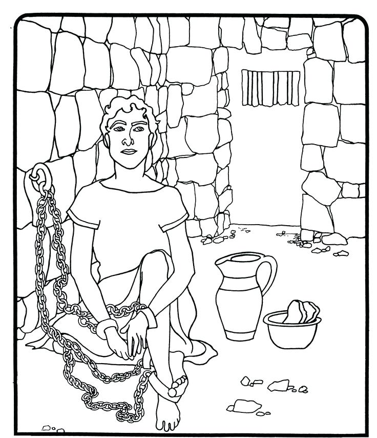 736x854 Coloring Pages Joseph In Jail Coloring Page
