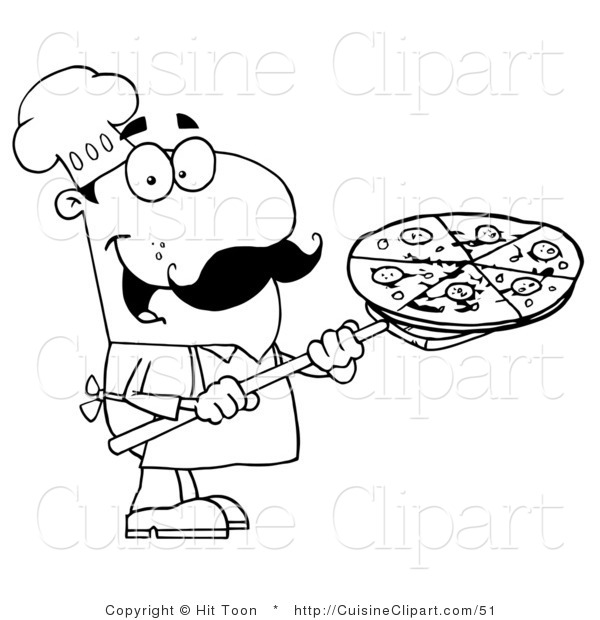 600x620 Cuisine Clipart Of A Coloring Page Of A Chef Carrying A Pizza Pie