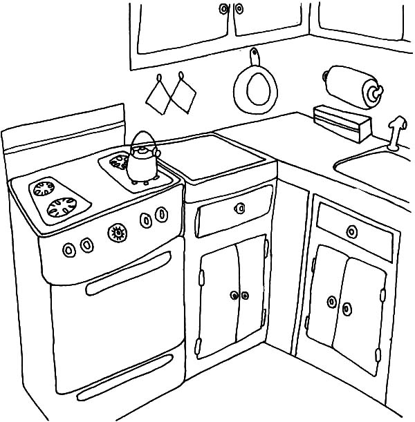 600x611 Boiling Water In The Kitchen Coloring Pages