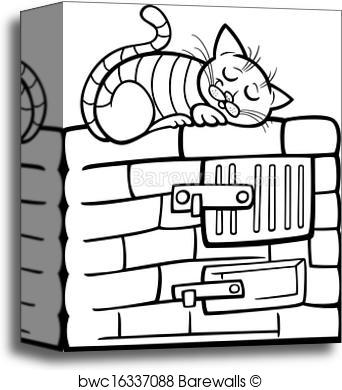 342x390 Canvas Print Of Cat On Stove Cartoon Coloring Page Barewalls