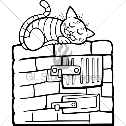 500x500 Cat On Stove Cartoon Coloring Page Gl Stock Images