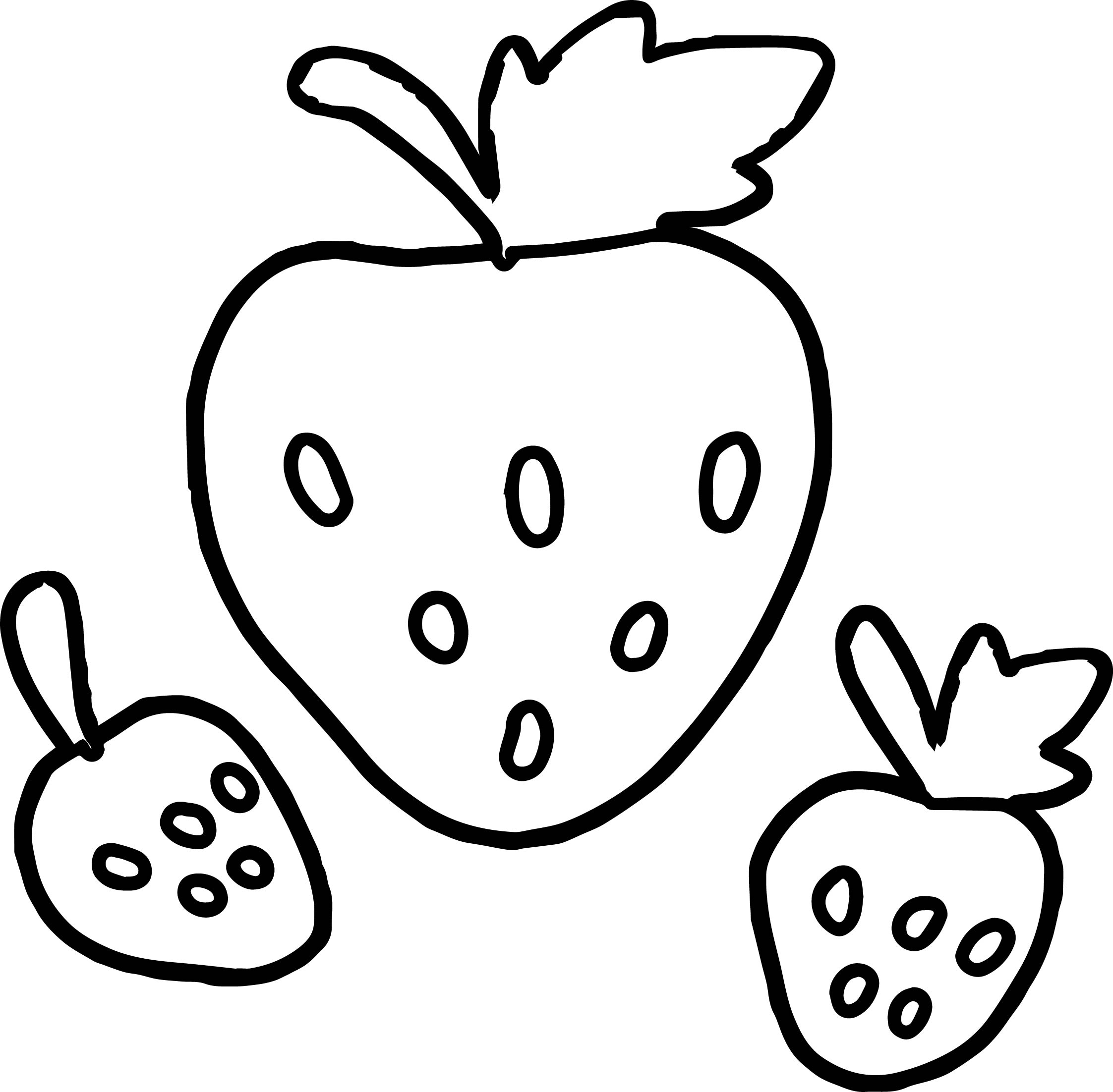 2245x2204 Basic Three Strawberry Coloring Page Wecoloringpage