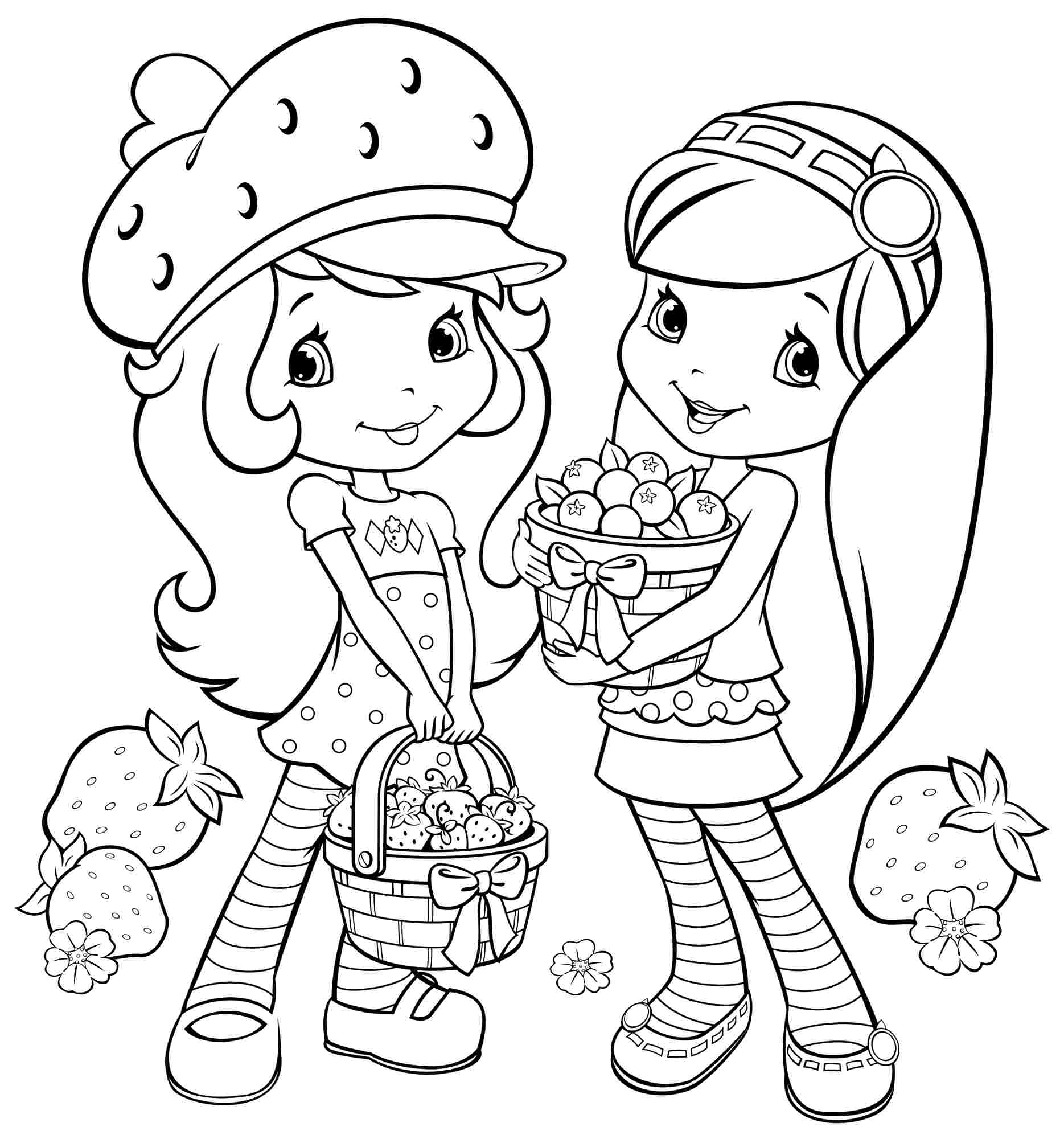 1869x2000 Printable Coloring Pages Cartoon Strawberry Shortcake And Friends