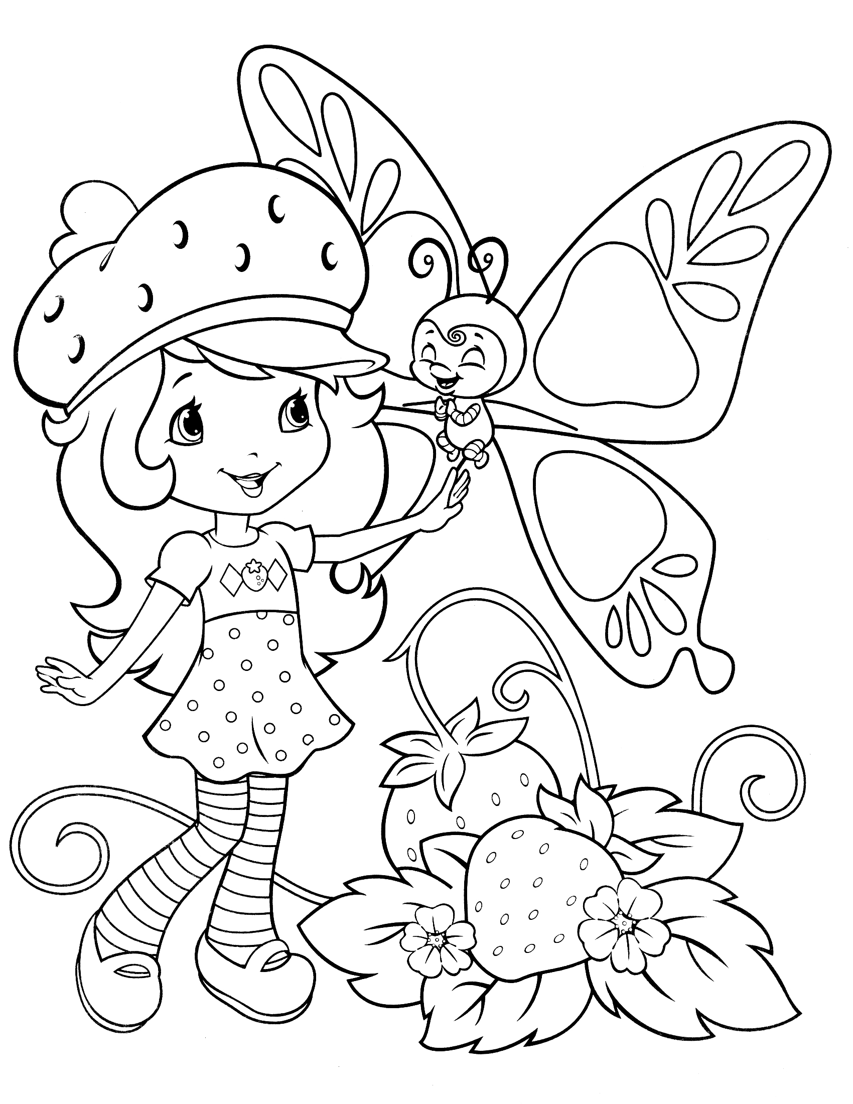 1700x2200 Strawberry Shortcake Coloring Pages