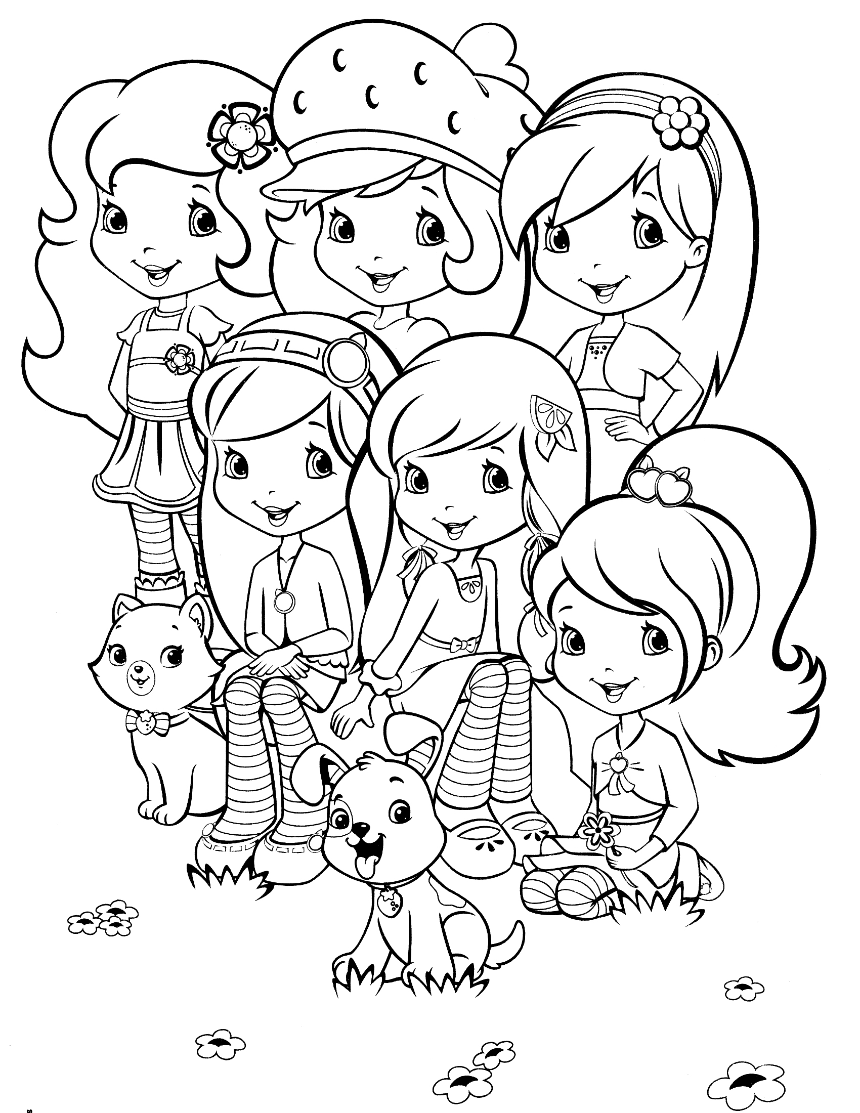 1700x2200 Strawberry Shortcake Characters Coloring Pages