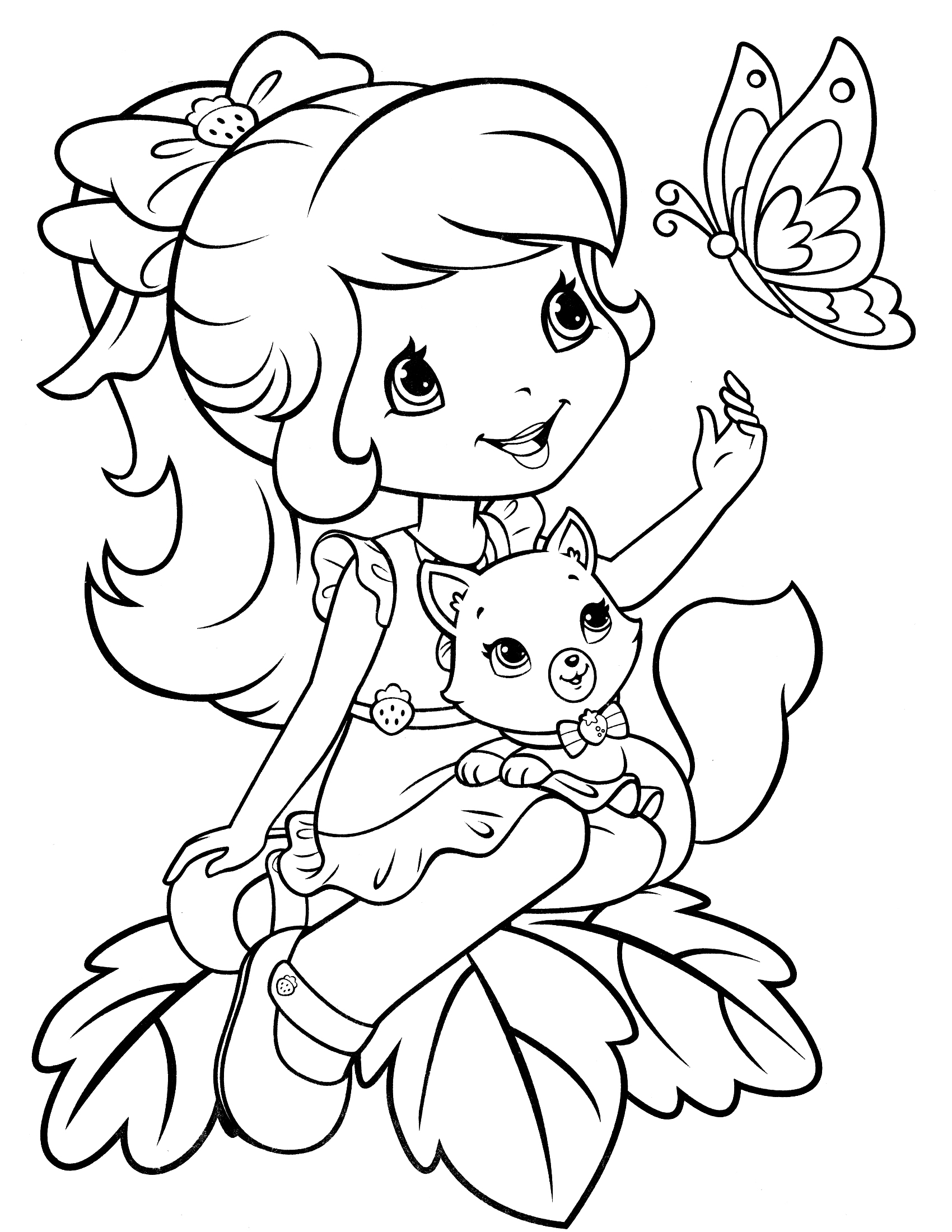 1700x2200 Strawberry Shortcake Coloring Page Kids