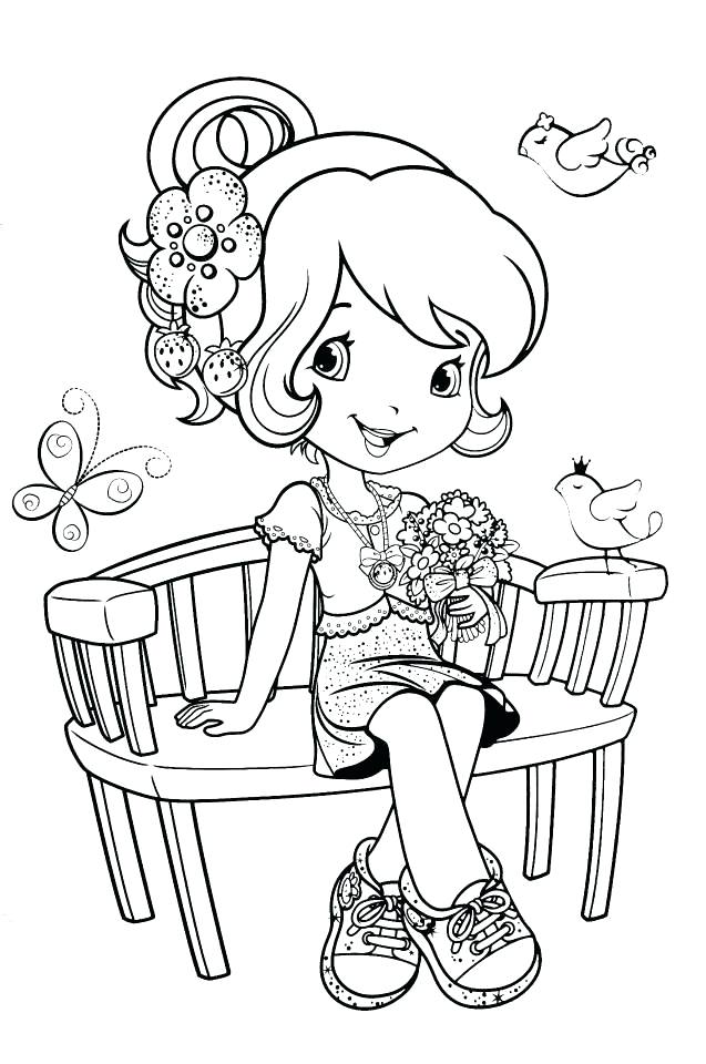 637x960 Cherry Jam Coloring Pages Strawberry Shortcake On A Bench