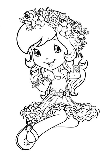 417x628 Dn Strawberry Shortcake Coloring Page Coloring Pages Girls