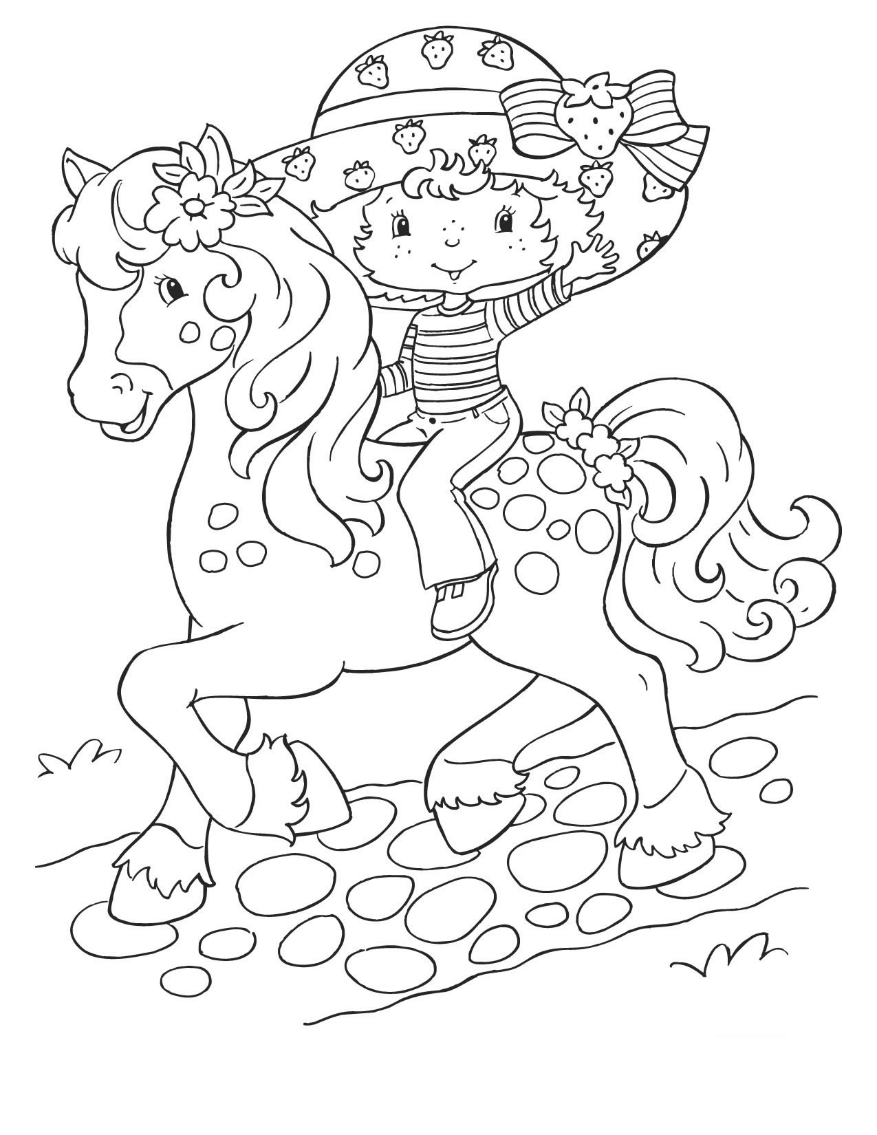 1275x1650 Coloring Page Strawberry Shortcake On Horse