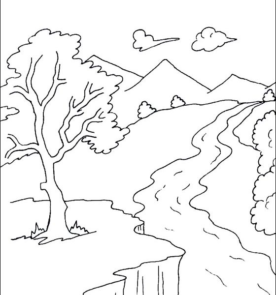 560x600 River Coloring Pages Printable Drawn River Colouring Page Pencil