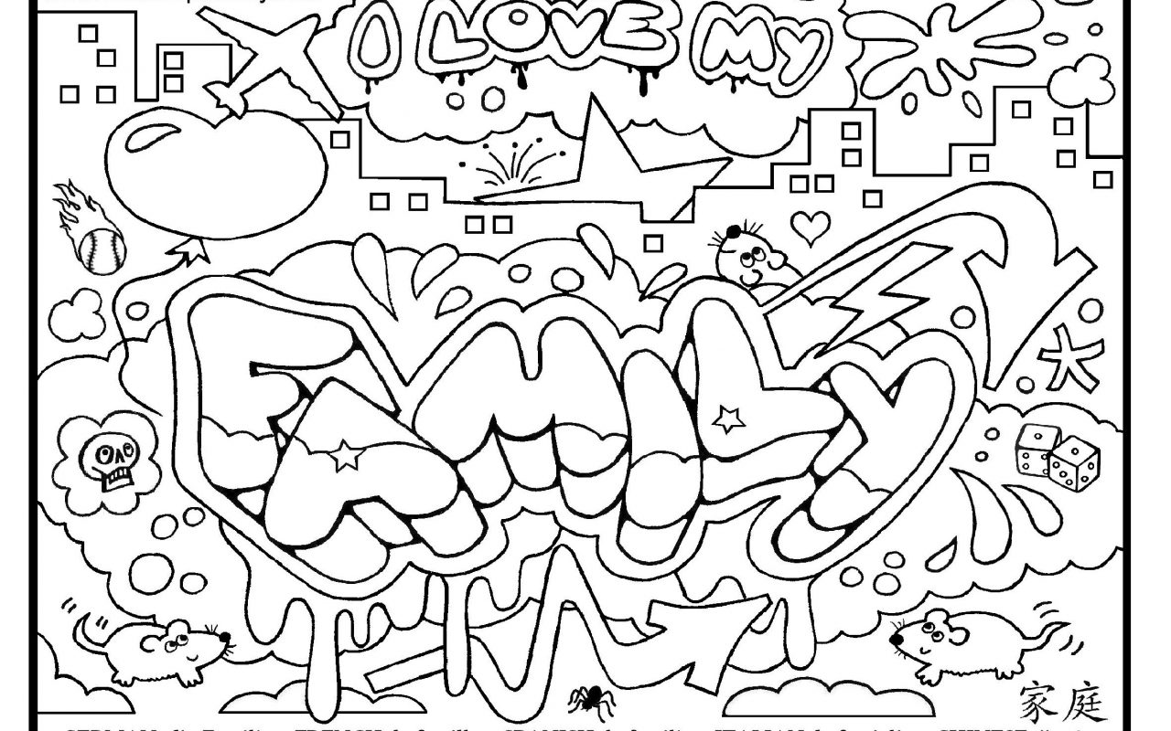 1280x800 Graffiti Coloring Sheet To Print Free Pages For Adults Adult Pdf