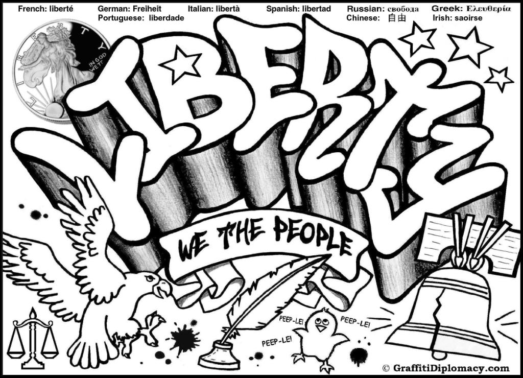 1024x740 Free Graffiti Coloring Page Liberty Graffiti Free Coloring