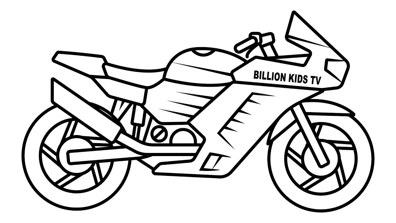 1280x720 Sport Bike Coloring Pages, Colors With Motorcycle Video, Coloring