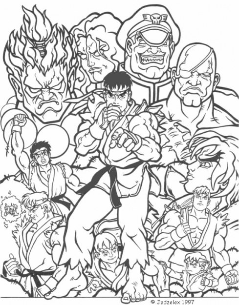 489x625 Street Fighter Coloring Pages