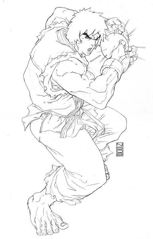 512x800 Street Fighter Ken Coloring Pages