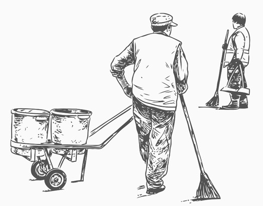524x411 Street Sweepers Printable Image Illustration Sketch For Street