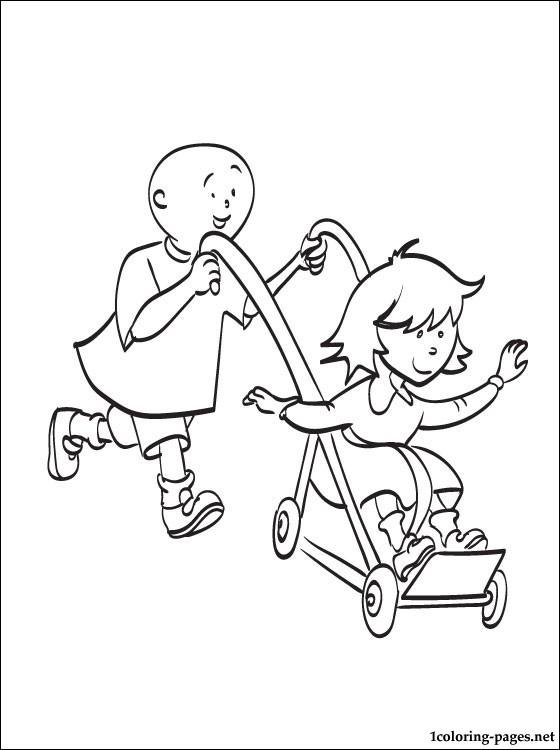 560x750 Caillou Pushing Rosie In Stroller Coloring Pages