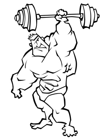 360x480 Weightlifting Coloring Pages Very Strong Weightlifter Coloring