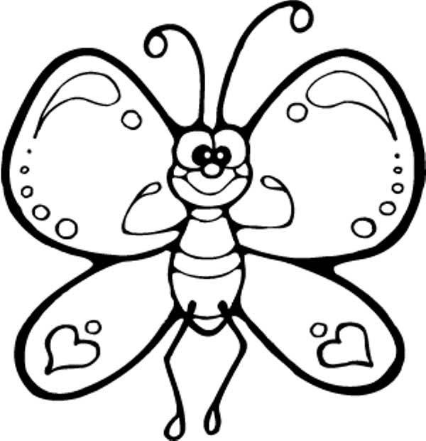 600x620 Funny Cartton Butterfly Being Strong Coloring Page