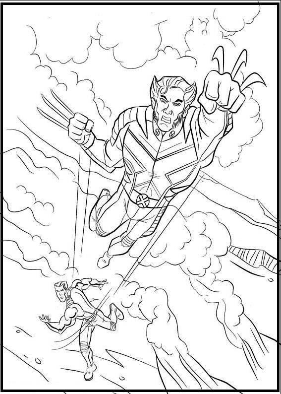 567x794 Logan And Strong Man Coloring Picture For Kids X Men