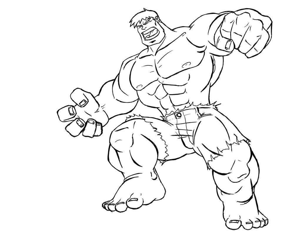 1017x786 Strong Hulk Superhero Free Coloring Page Superheros Coloring Pages