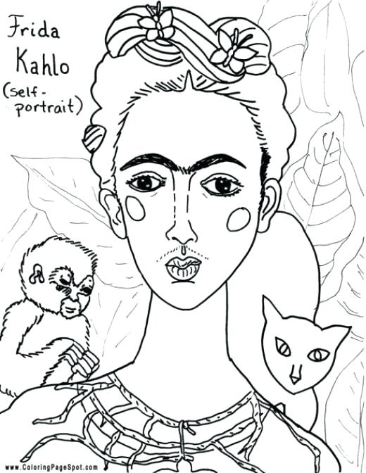 520x672 Frida Kahlo Coloring Pages First Met When She Was An Art Student