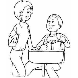 300x300 Students Talking Coloring Page