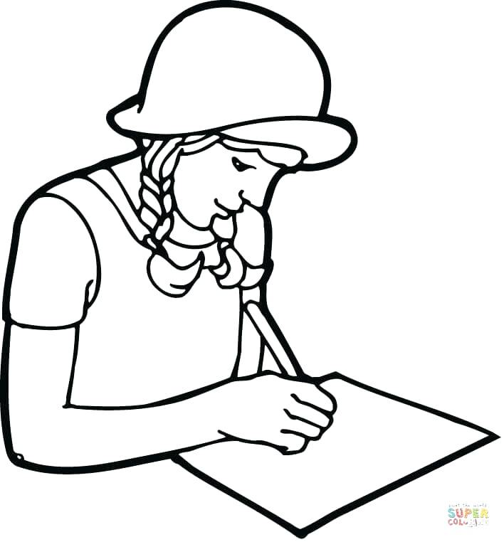 708x762 Teacher And Student Coloring Pages A Girl Student Writing On Paper