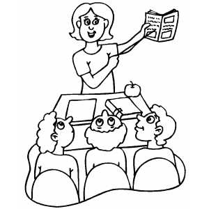 300x300 Teacher Explanation To Students Coloring Page