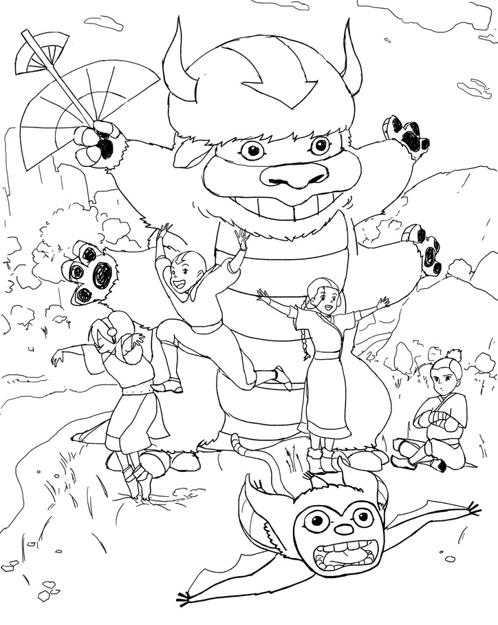 724x907 Avatar The Last Air Bender In Studio Ghibli Style Coloring Page