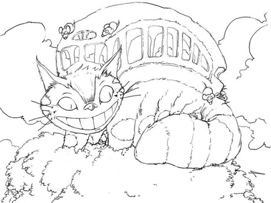 900x675 Catbus From Totoro Coloring Pages Japanese Anime Coloring Pages