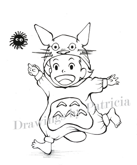 570x688 Totoro Coloring Pages Printable Image Outstanding Studio Ghibli