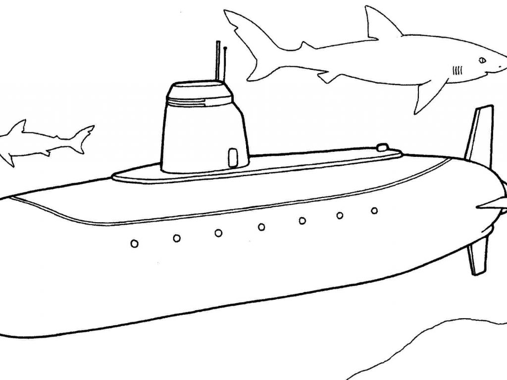 1024x768 Trend Submarine Coloring Pages Perfect Yellow Printable Free Kids