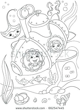 338x470 Underwater Coloring Pages Submarine Coloring Pages Children