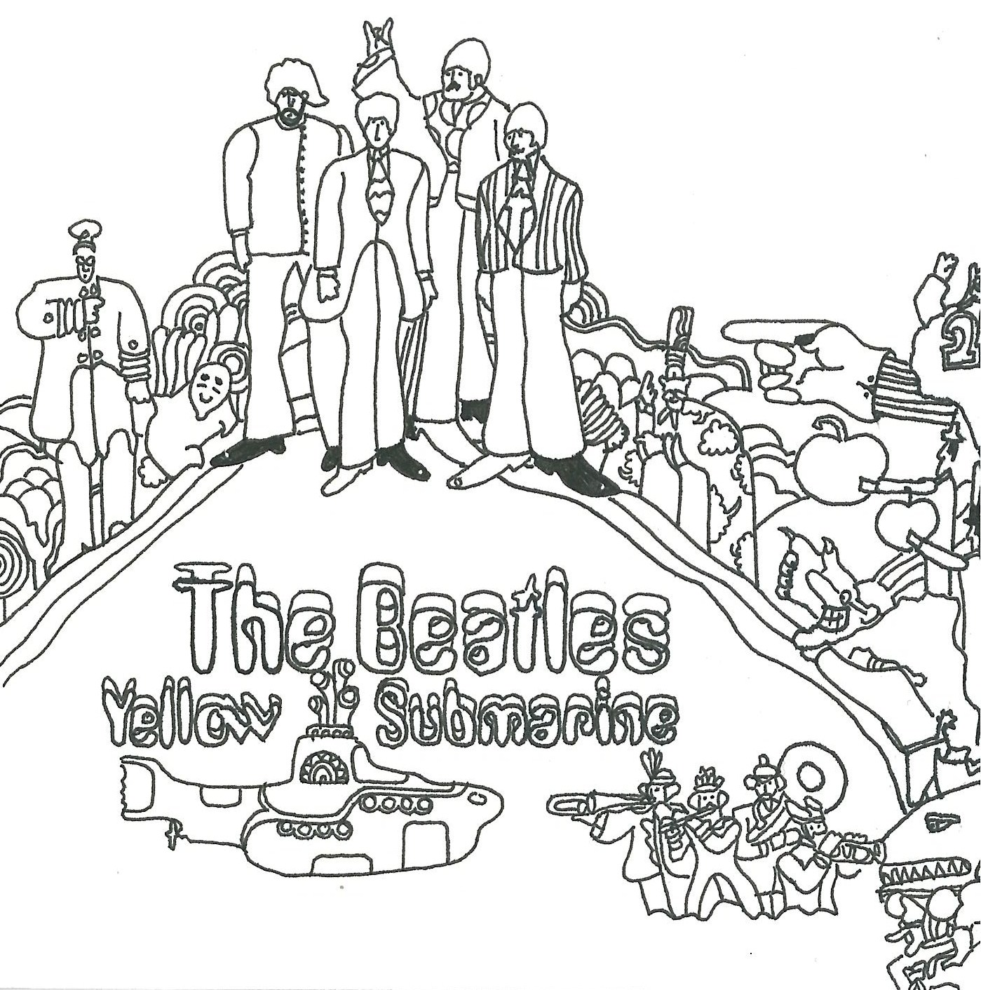 1399x1412 The Beatles Coloring Pages