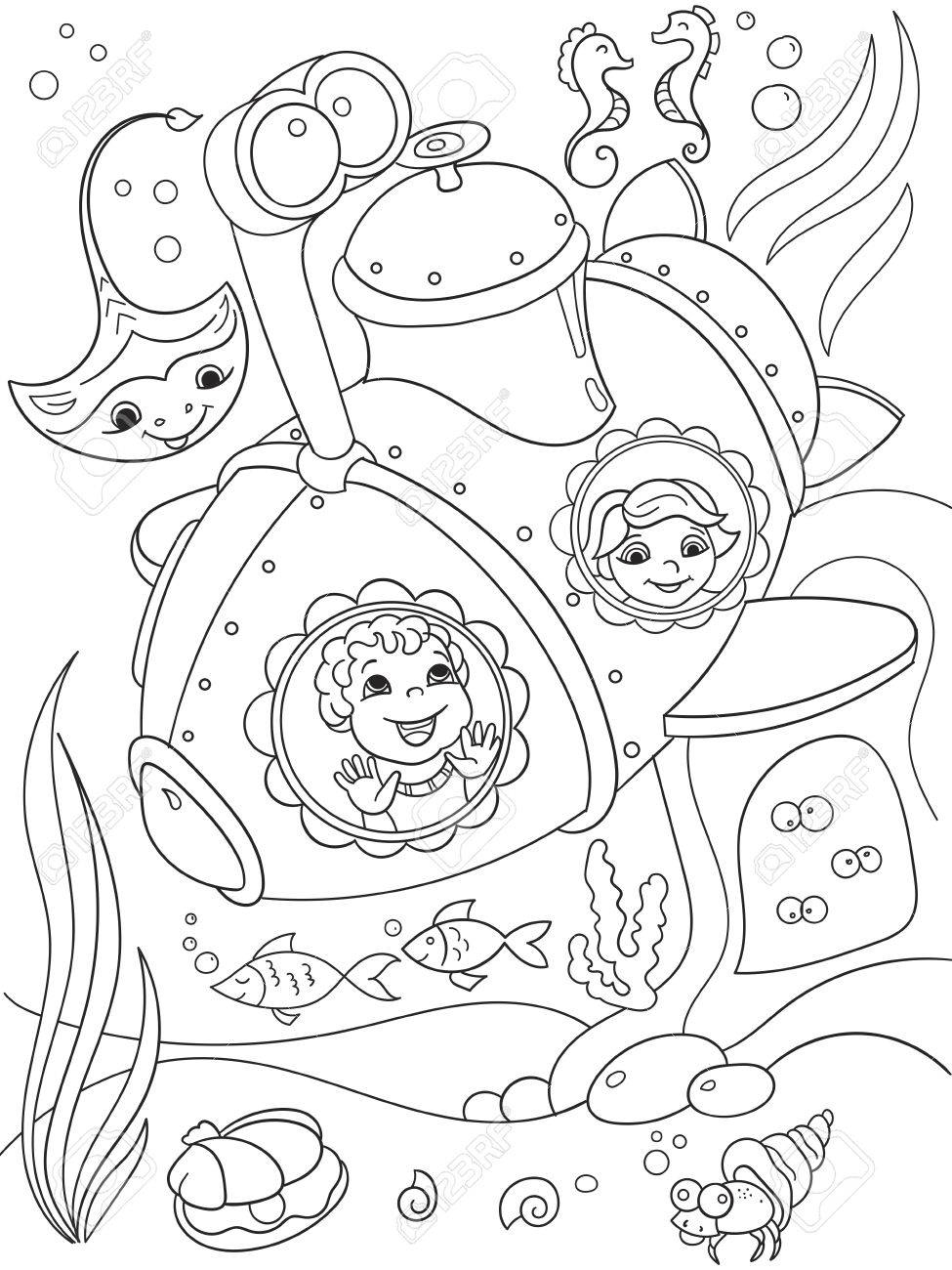 975x1300 Children Exploring The Underwater World In A Submarine Coloring