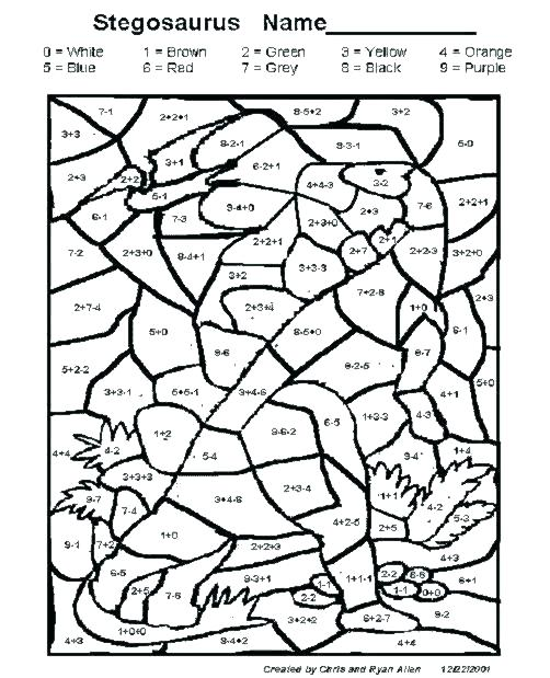 502x619 Addition Coloring Pages Grade Subtraction Worksheets Color Math