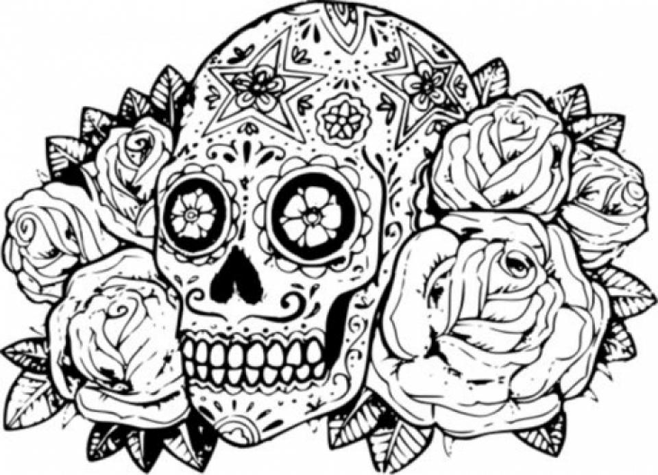 960x694 Sugar Skull Coloring Page Sugar Skulls Coloring Pages Free