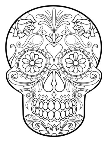 358x480 Sugar Skulls Coloring Pages Sugar Skull Coloring Page Free