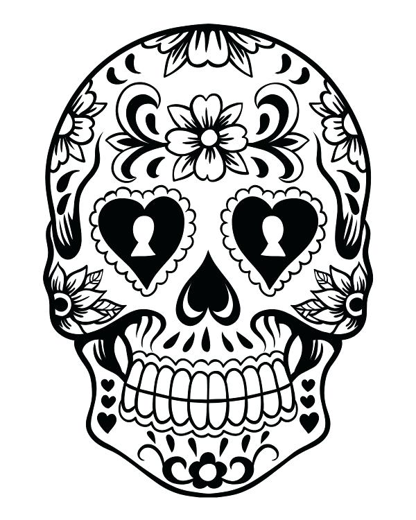 600x750 Sugar Skull Coloring Pages For Adults Icontent