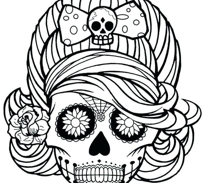 678x600 Sugar Skull Colouring Pages Pdf Icontent