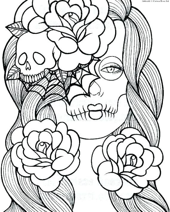 570x713 Skull Coloring Page Girl Skull Coloring Pages Colouring In Amusing
