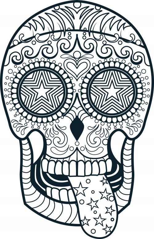 500x777 Sugar Skull Coloring Page