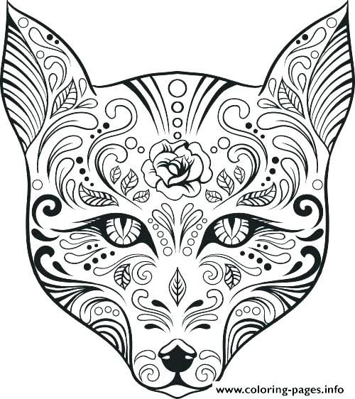 500x562 Sugar Skull Coloring Pages Free Free Skull Coloring Pages Free