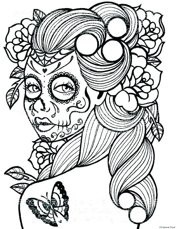 570x738 Sugar Skull Coloring Sheet