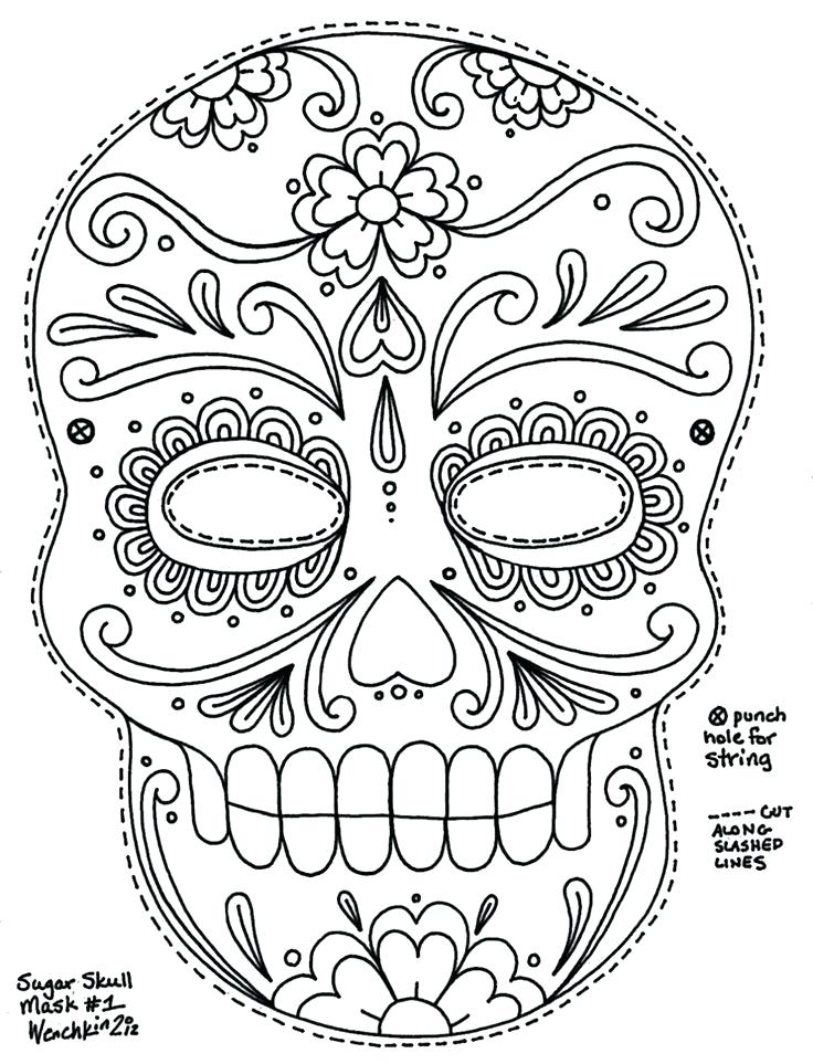 736x963 Simple Sugar Skull Coloring Pages Cute Coloring Coloring Page