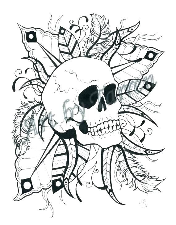 570x725 Skull Color Pages Coloring Pages For Grown Ups Free Coloring