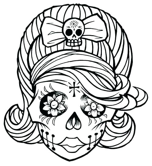 500x547 Sugar Skull Color Pages Skull Coloring Sheets Coloring Pages Sugar