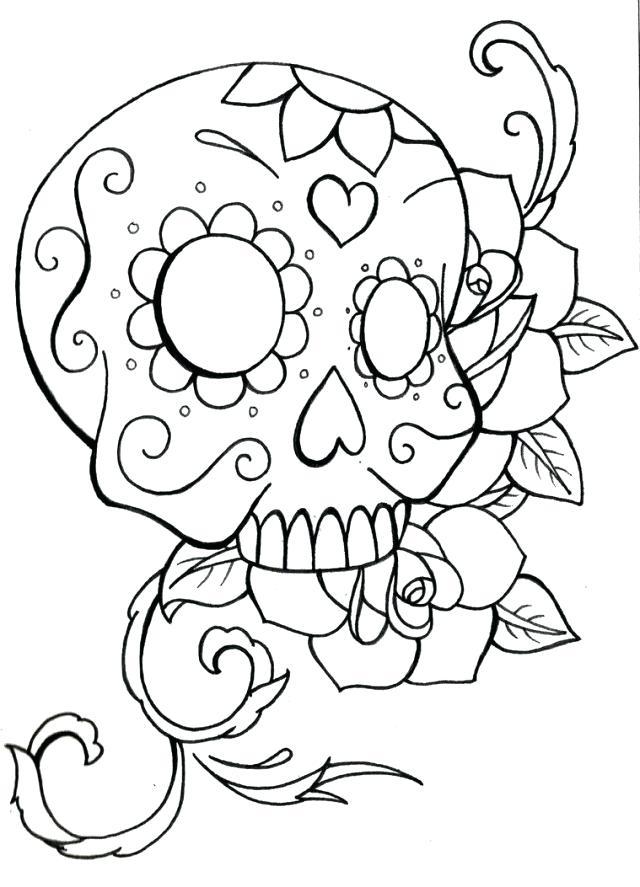 640x887 Sugar Skull Coloring Pages Pdf Free Download Printable Coloring